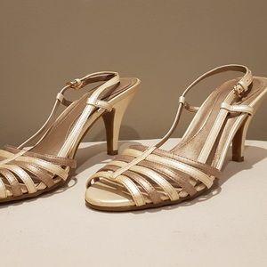 Naturalizer Bronze and cream heels